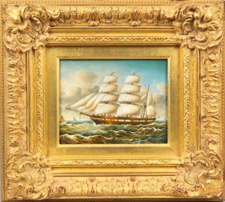 Framed American School Oil on Panel of a Clipper Ship