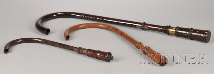 Three Reproduction Crumhorns