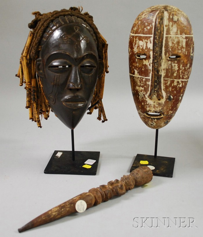Chokwe-style and Lega-style Carved Wooden African Masks and Carved Wooden Septer