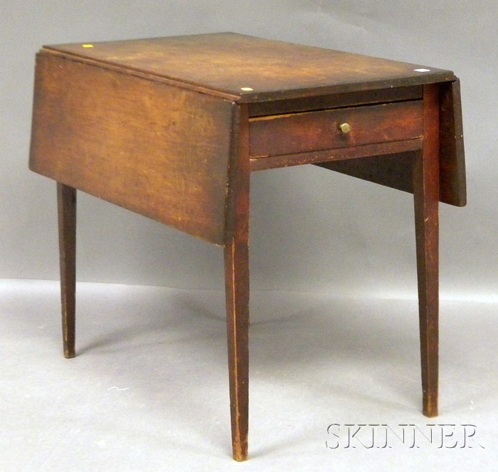 Federal Cherry Drop-leaf Pembroke Table with End Drawer and Tapering Legs