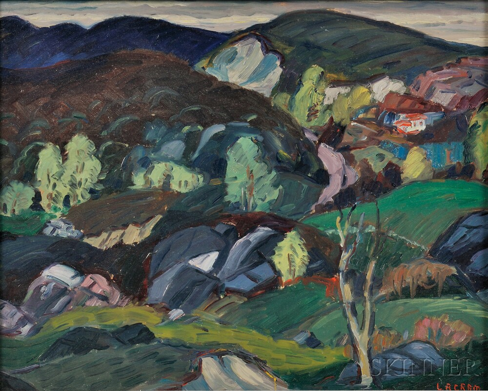 Leighton R. Cram (American, 1895-1981)      Hilly Landscape with Distant House