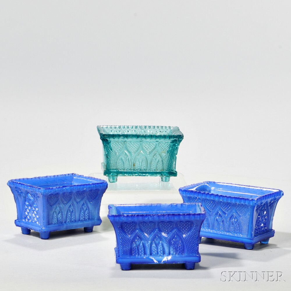 Four Pressed Glass Gothic Arch Pattern Open Salts
