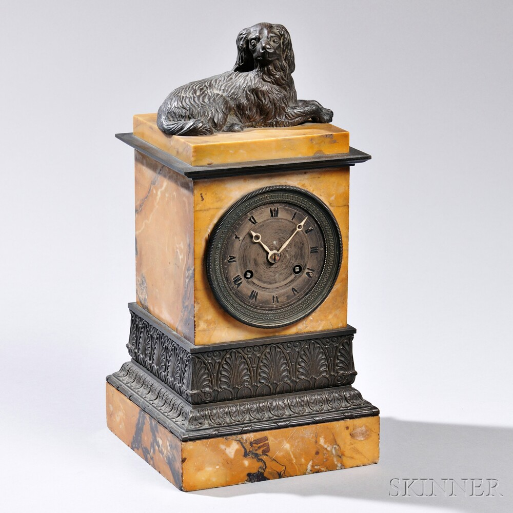 French Marble and Bronze Figural Mantel Clock