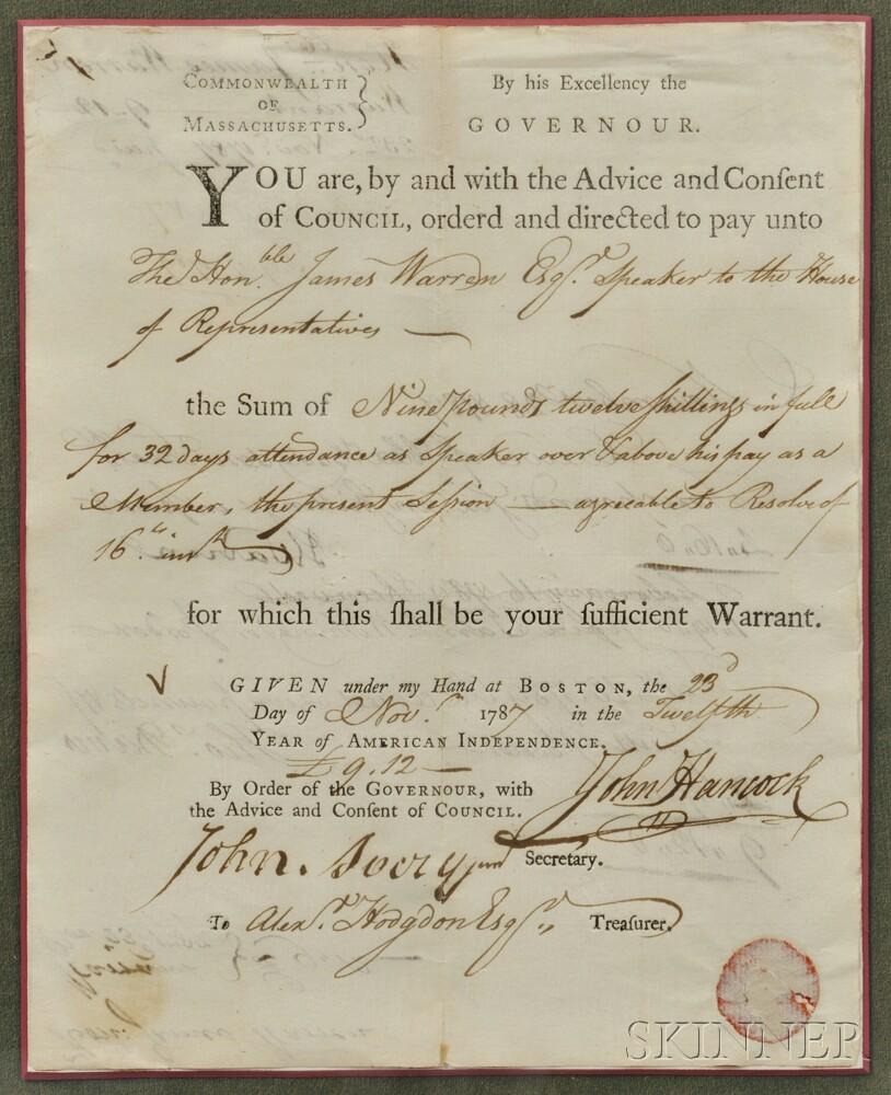 Hancock, John (1737-1793) Signed Document, Boston, 23 November 1787.