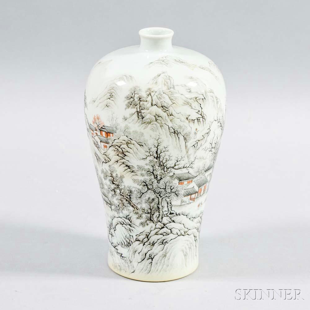 Enameled Porcelain Meiping   Vase