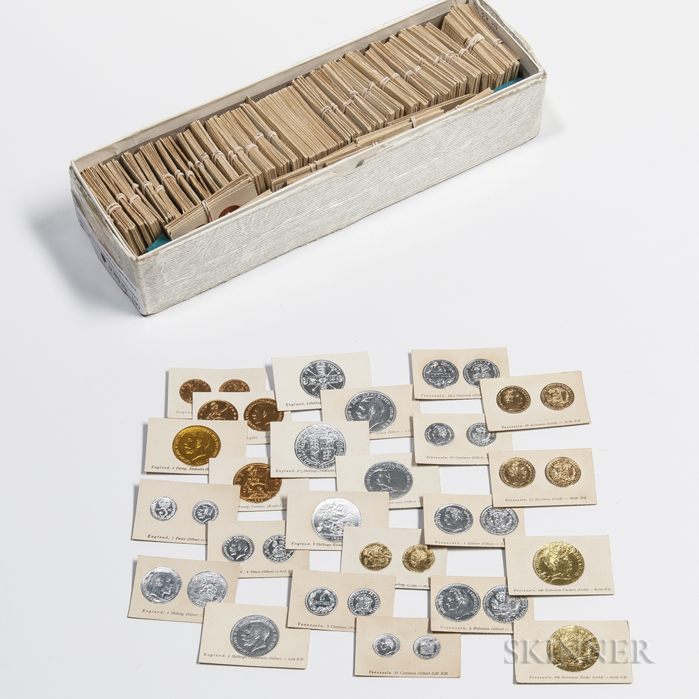 Large Group of Richard Greiling Embossed Cigarette Cards of Coins of the World.     Estimate $20-200
