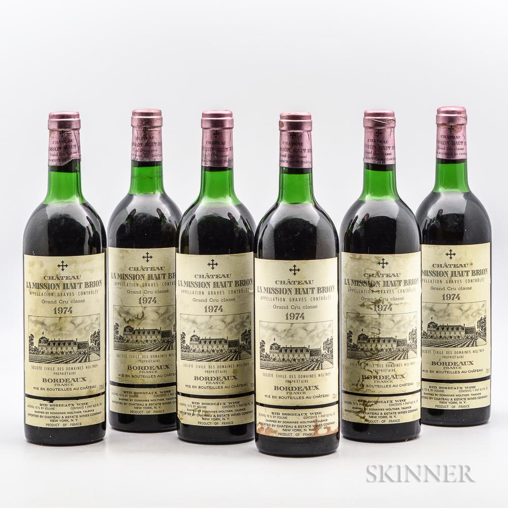 Chateau La Mission Haut Brion 1974, 6 bottles