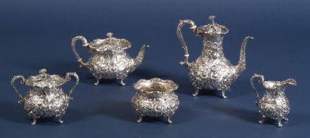 S. Kirk & Son Inc. Five Piece Sterling Repousse Tea and Coffee Service