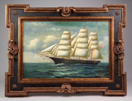 Framed Oil on Canvas of a British Clipper Ship