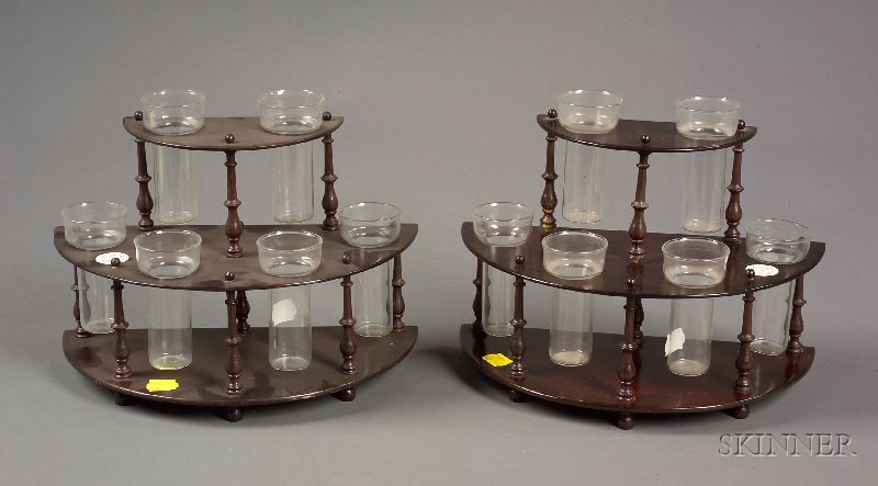 Pair of Mahogany and Colorless Glass Demilune Bud Vase Holders