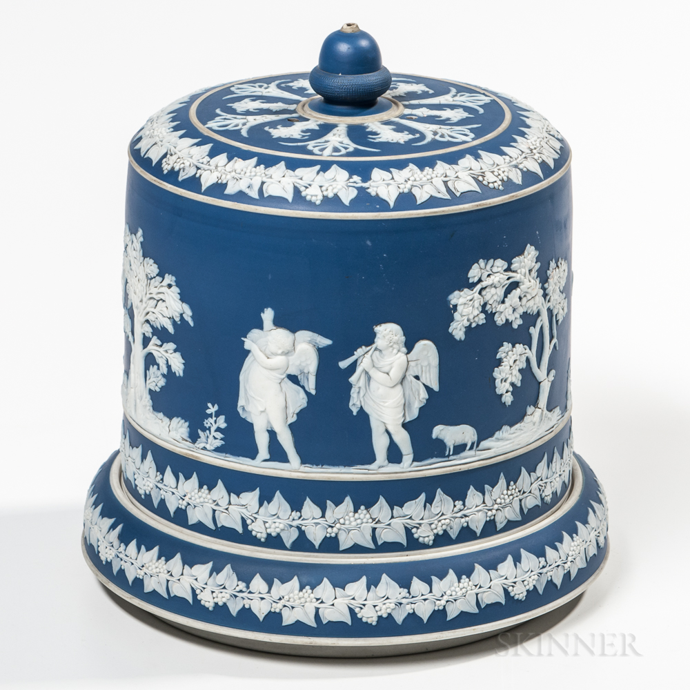 Wedgwood Blue Jasper Dip Covered Cheese Dish