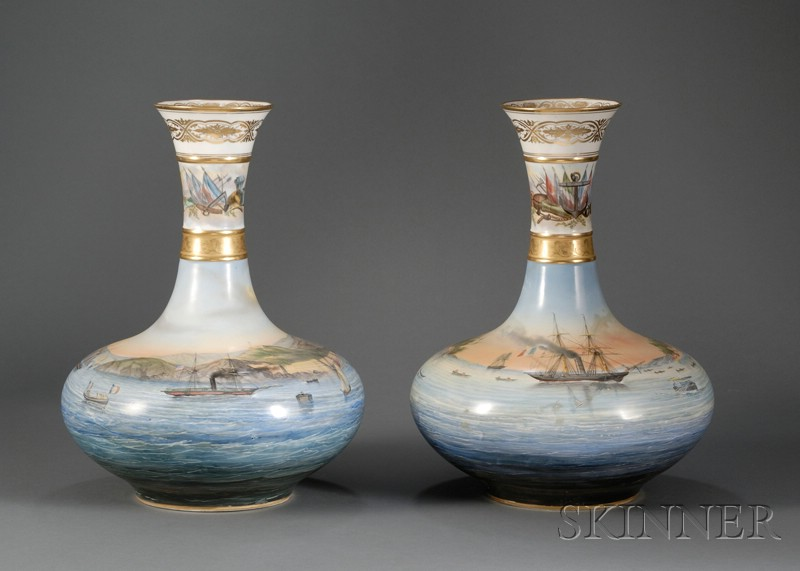 Pair of Large Paris Porcelain Vases with Hand-painted Harbor Scenes