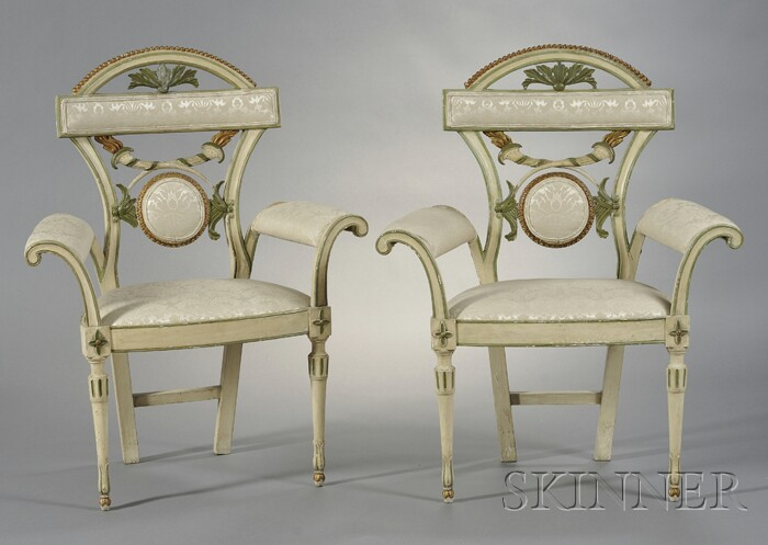 Pair of Italian Directoire-style Carved, Painted, and Parcel-gilt Armchairs