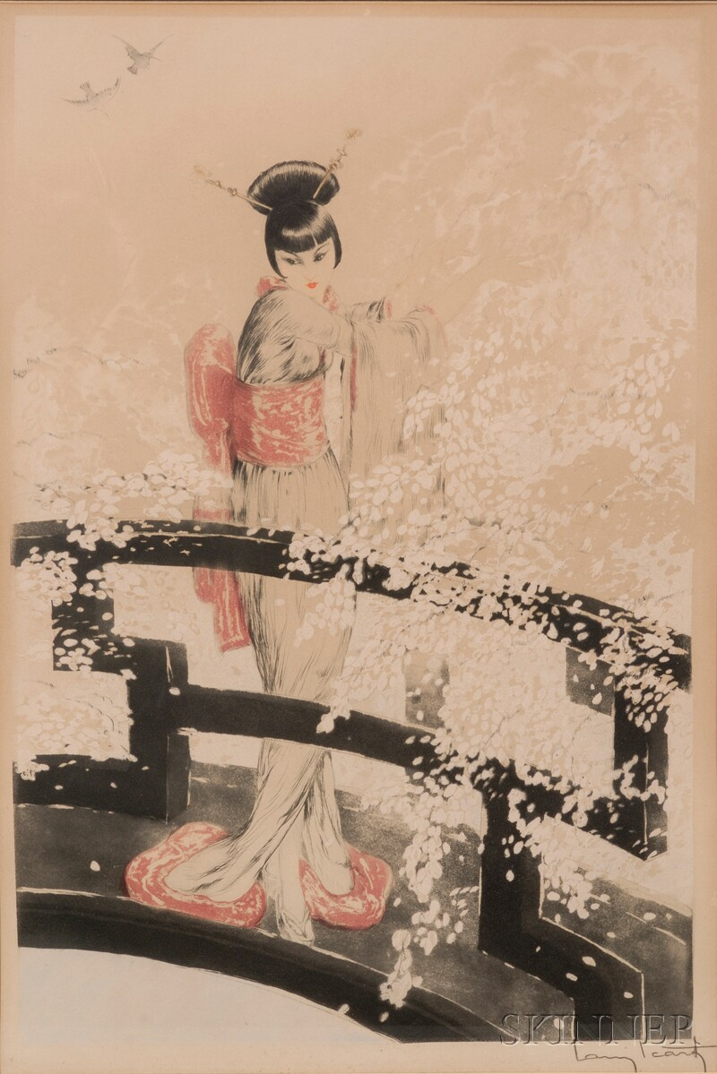 Louis Icart (French, 1888-1950)      Geisha on a Bridge