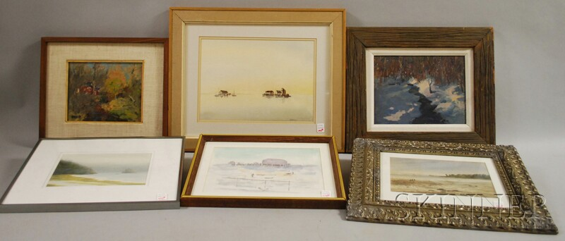 Six Framed Landscape Views:      Susan Grisell (American, 20th/21st Century), Winter Stream