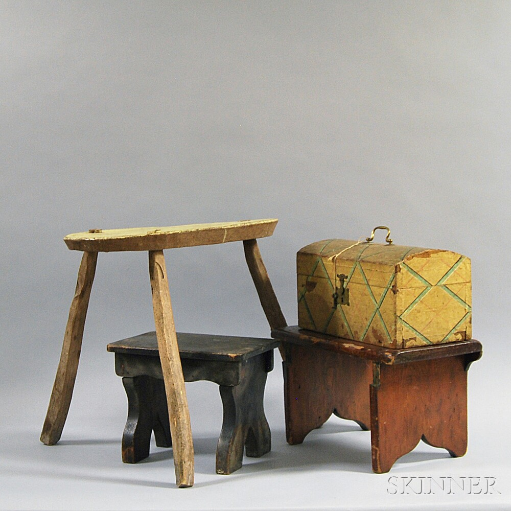 Three Country Stools and a Wallpaper-covered Dome-top Document Box