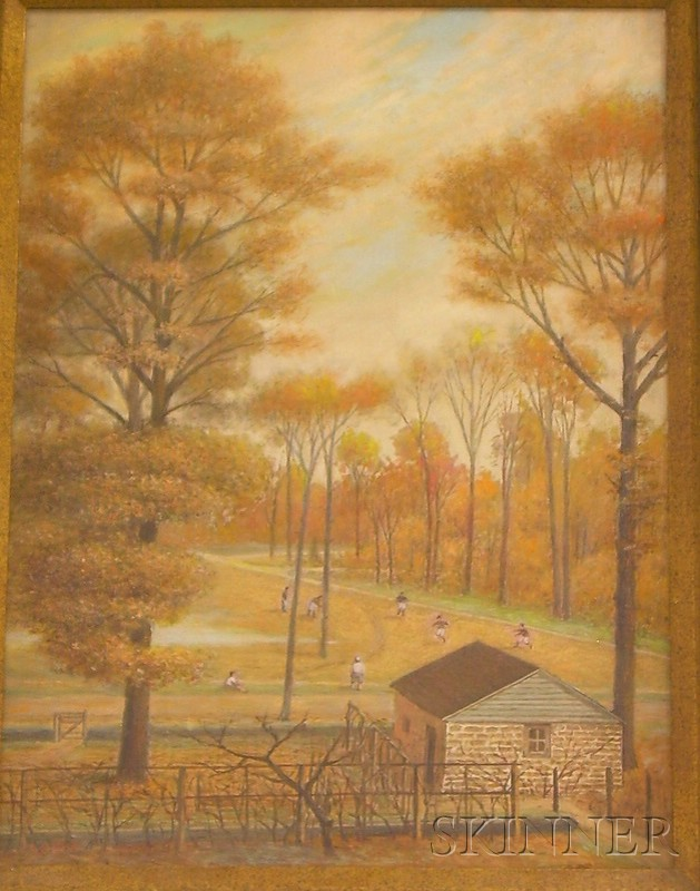 Framed Oil on Canvas Autumn Park Scene by Ernst L. Bartsch (American,      1898-1936)