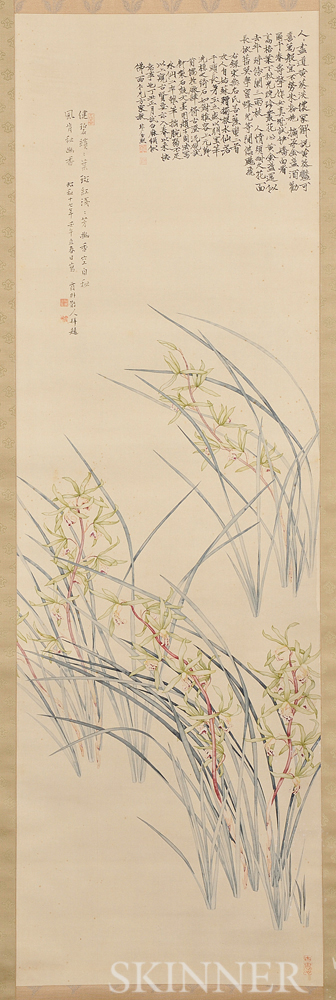 Hanging Scroll Depicting Orchids