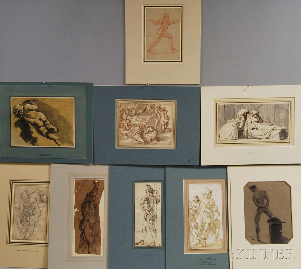 Nine Unsigned Figure Drawings: Italian School, 17th/18th Century, Standing...