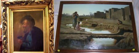 Framed Continental School Oil on Canvas Orientalist Landscape and a Oil on Panel of a Jewels Seller