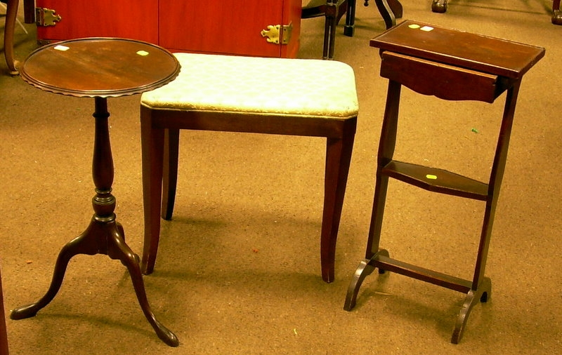 Diminutive Mahogany Sewing Stand with Drawer, an Upholstered Vanity Stool, and a Mahogany Dish-top Kettle Stand...