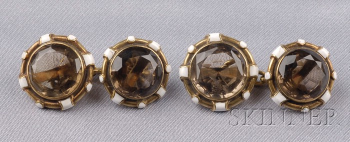 18kt Gold, Smoky Topaz, and Enamel Cuff Links
