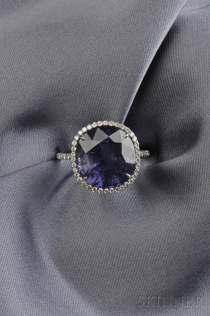 Platinum, Color-change Sapphire, and Diamond Ring