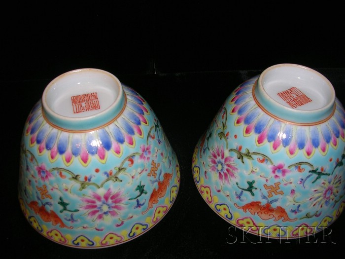 Pair of Famille Rose Wine Cups