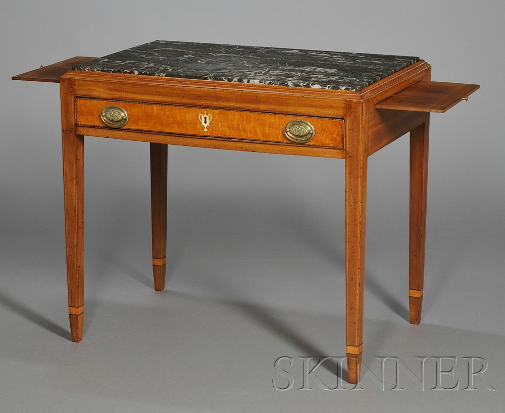 Federal Mahogany and Wavy Birch Veneer Mixing Table with Marble Top