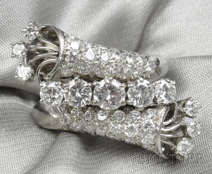 Platinum and Diamond Bypass Ring