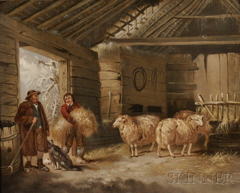 Manner of George Morland (British, 1763-1804)      Barn Interior with Sheep