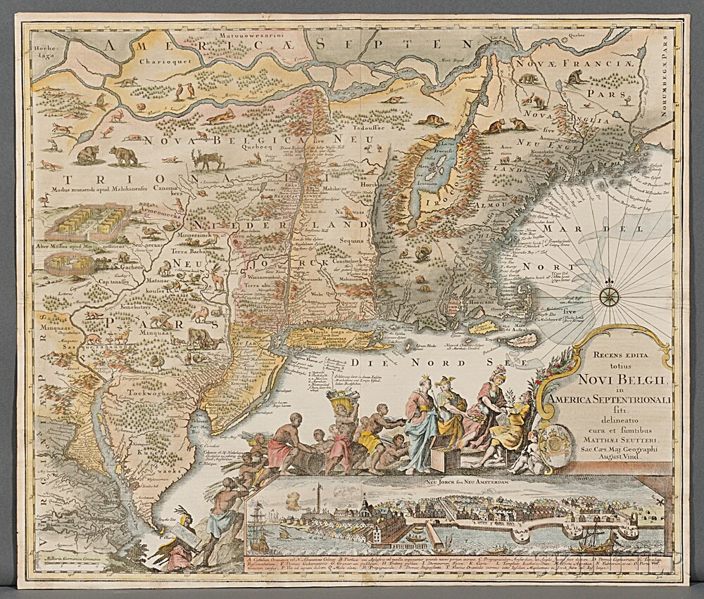 New England, New York, and New Jersey. Matthias Seutter (1678-1757) Recens Edita Totius Novi Belgii in America Septentriona
