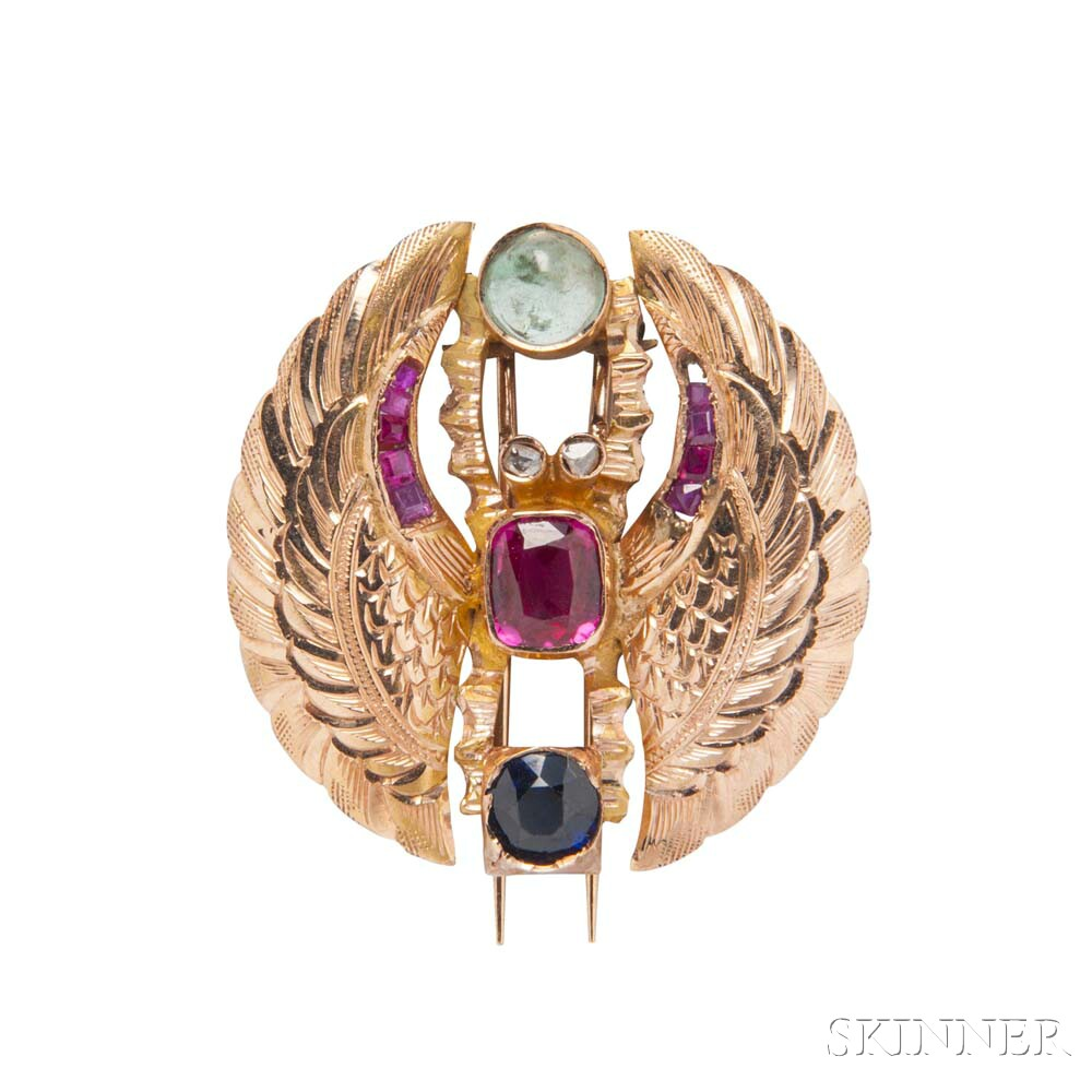 14kt Gold Gem-set Scarab Brooch