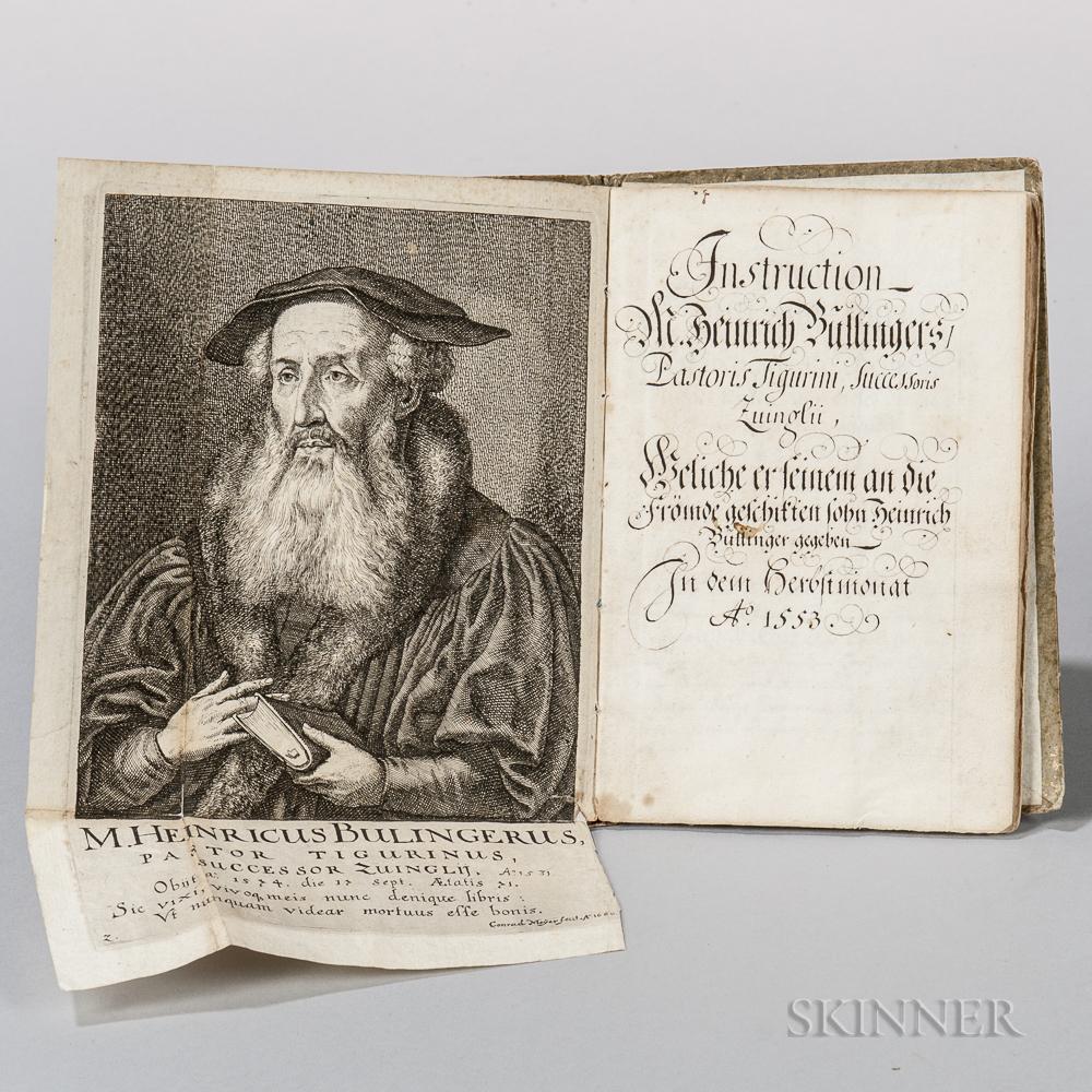 Bullinger, Heinrich (1504-1575) Instruction M. Heinrich Bullingers Pastoris Tigurini, Successoris Zuinglii.