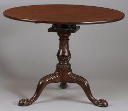 Fine George III Carved Mahogany Tilt-top Tripod Table