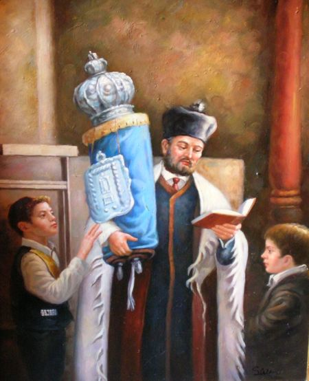 Two Framed Judaica Related Oil on Panel