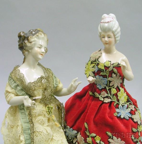 Two China Half Dolls