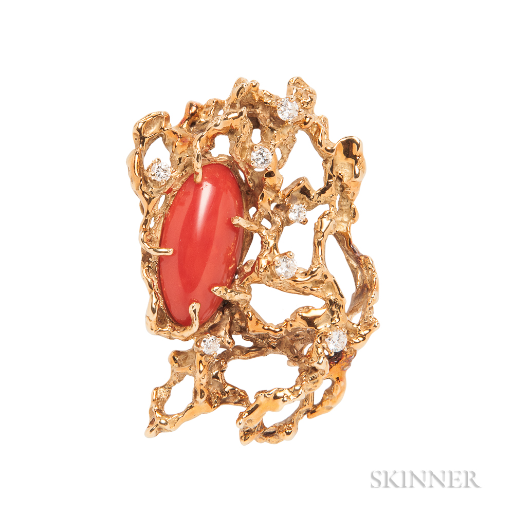 18kt Gold, Coral, and Diamond Brooch, Arthur King