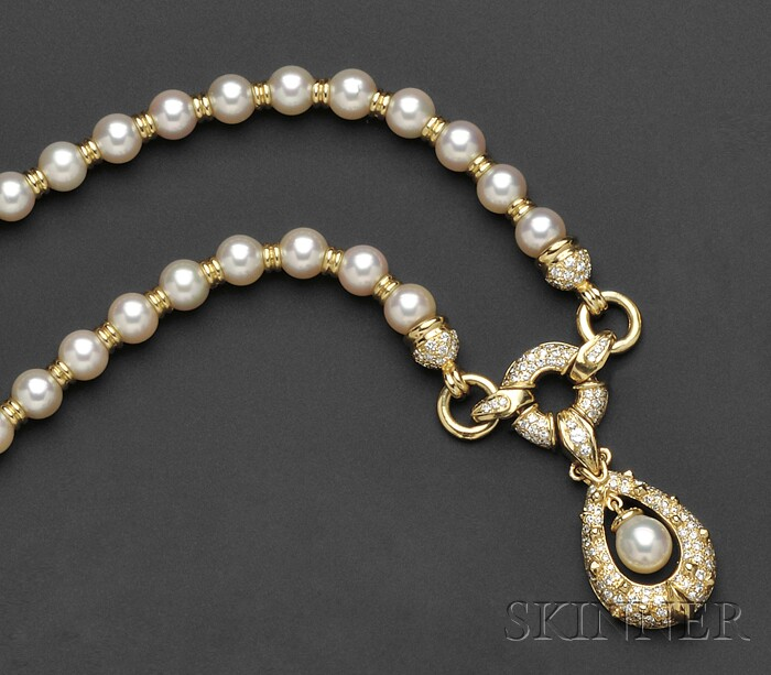 18kt Gold, Cultured Pearl, and Diamond Necklace