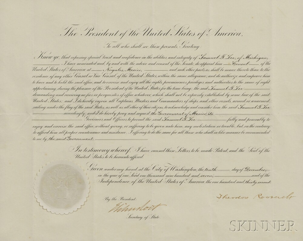 Roosevelt, Theodore (1858-1919) Document Signed, 10 December 1907.