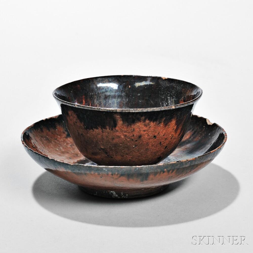 Redware Teacup and Saucer