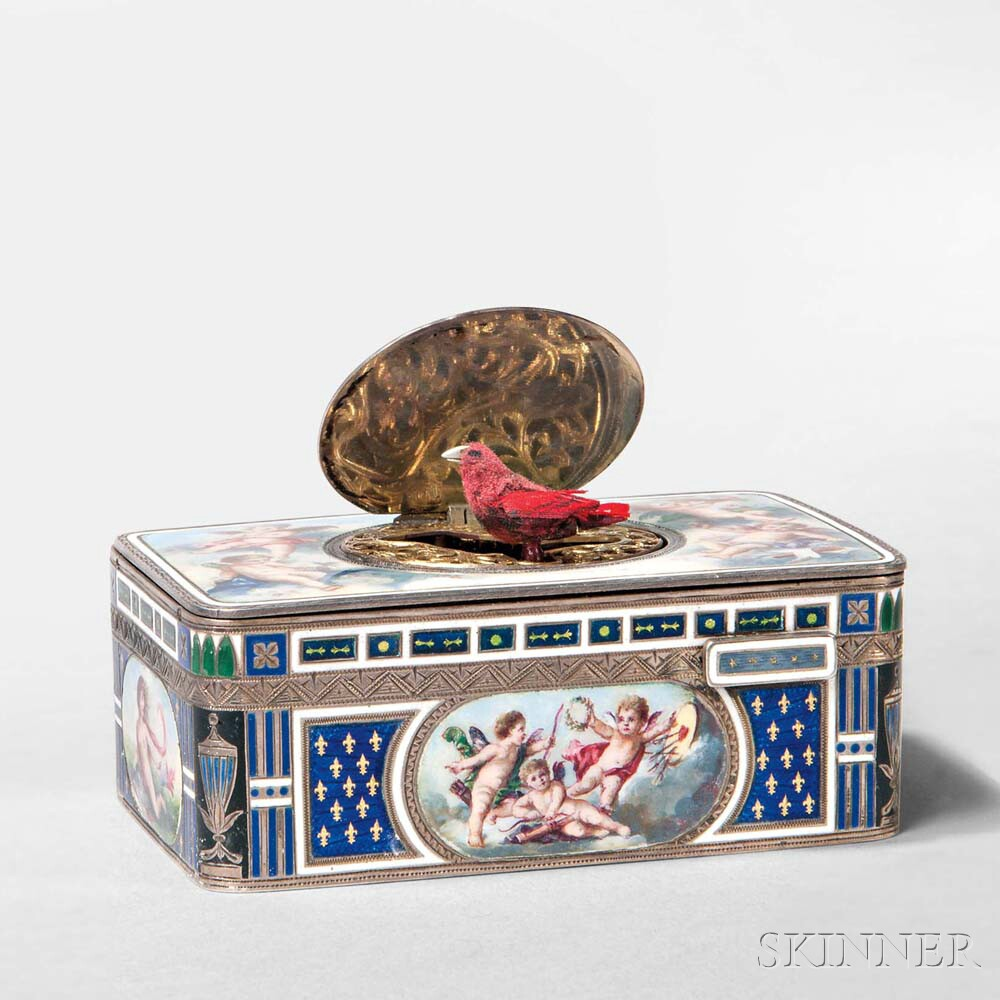 Austrian .835 Silver and Enamel Bird Automaton Box