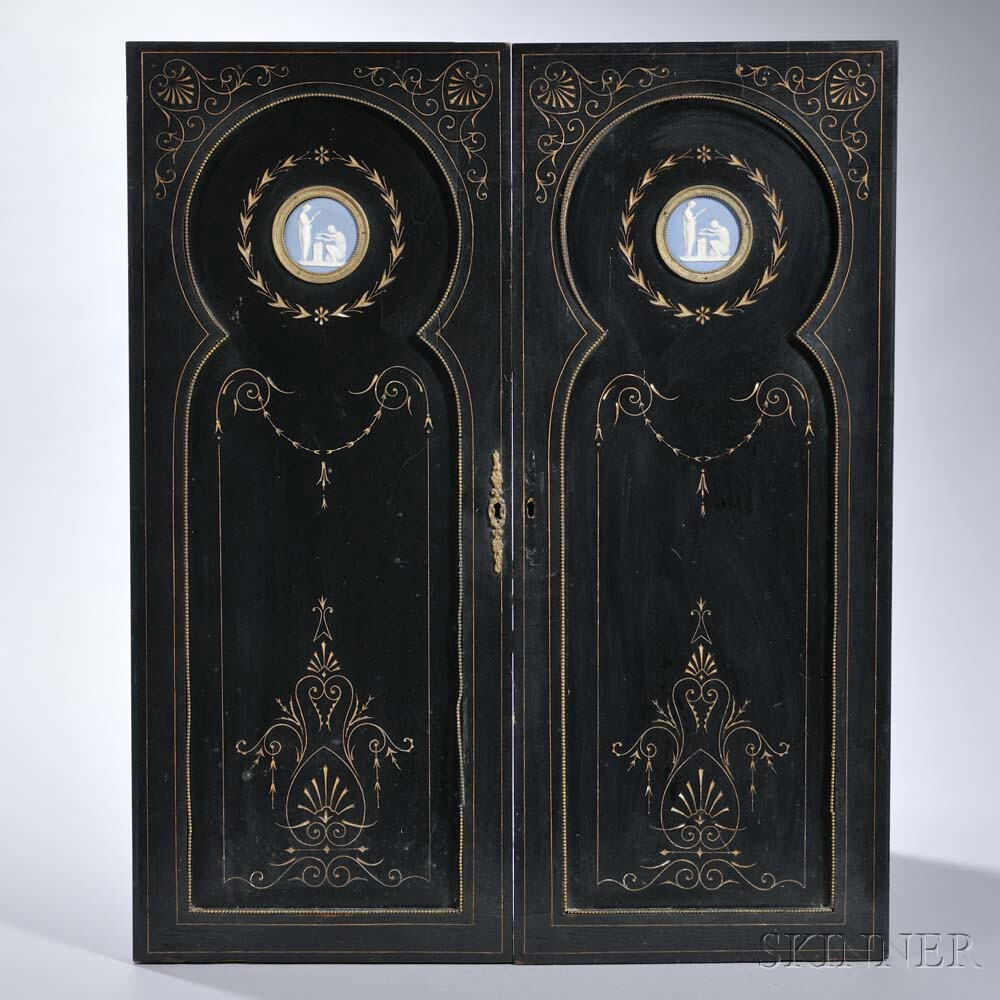 Pair of Wedgwood Blue Jasper-mounted Door Panels