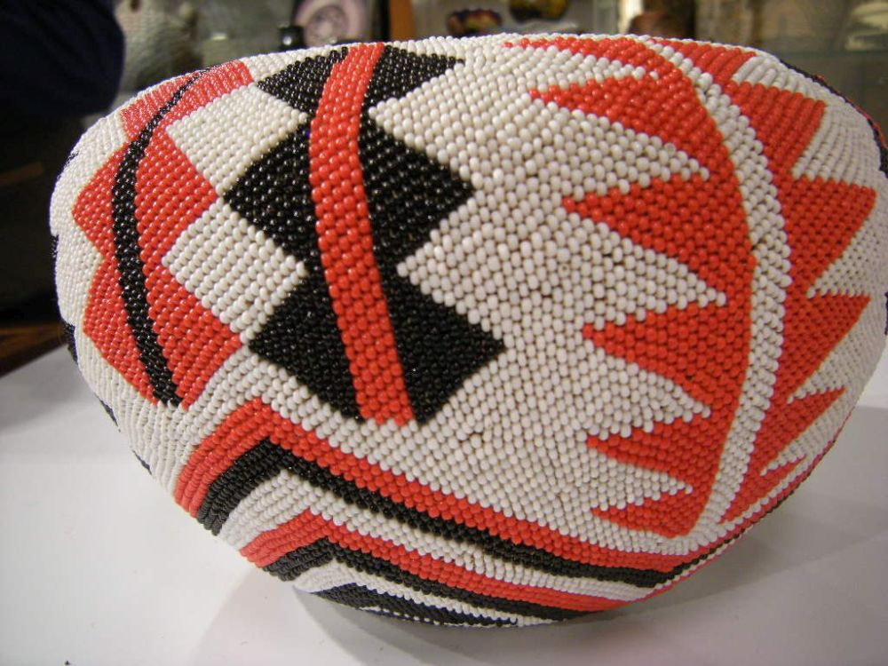 Large Mono Lake Beaded Basket by Minnie Mike