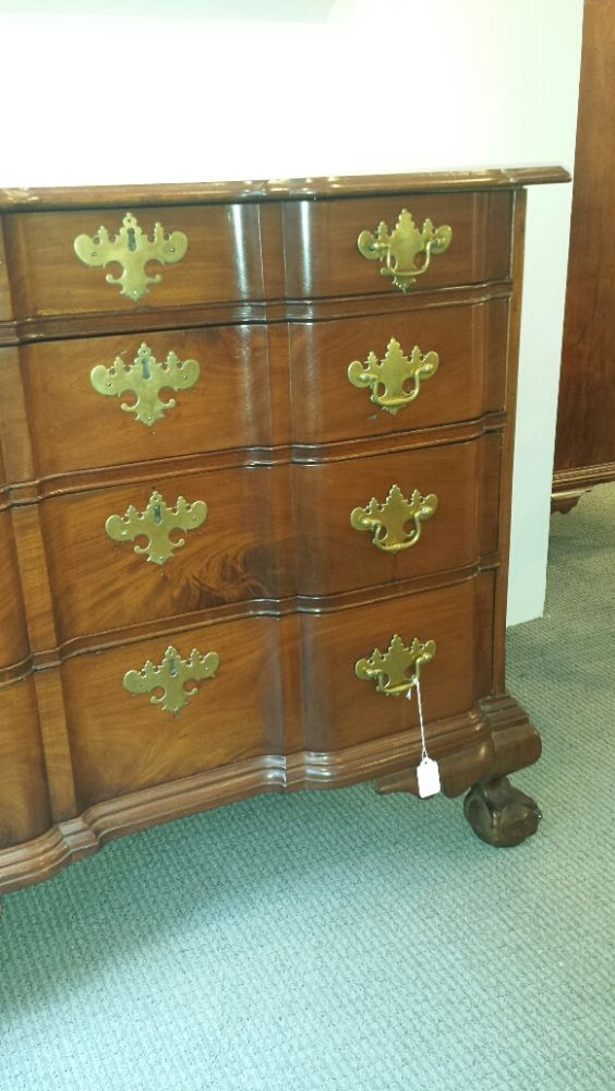 Carved Mahogany Block-front Chest of Drawers