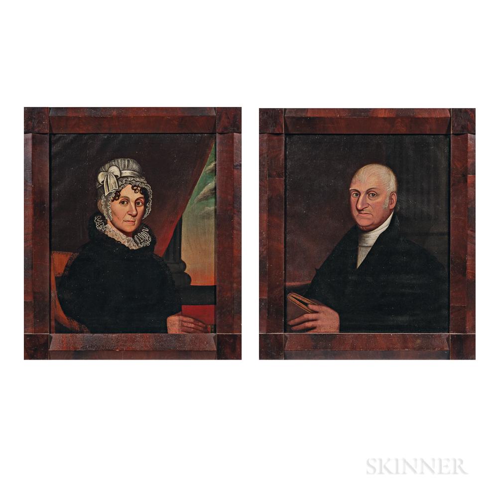 Zedekiah Belknap (Massachusetts, 1781-1858)      Portrait of Reverend and Mrs. Edmund Mills of Sutton, Massachusetts