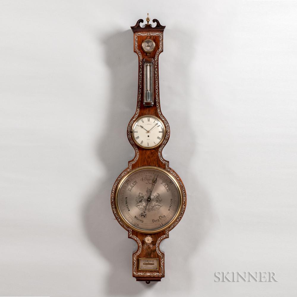 Monumental Mother-of-pearl-inlaid Mercury Wheel Barometer and Clock