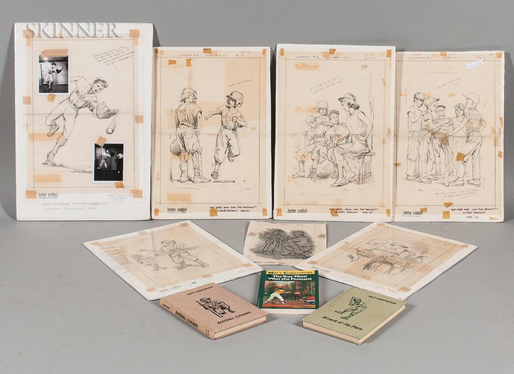 Foster Caddell (American, 1921-2013)      Seven Pencil Illustrations: