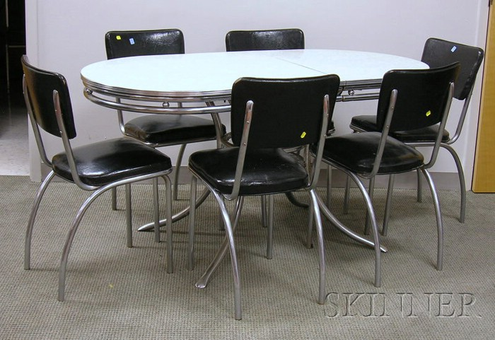 Vintage Formica And Chrome Kitchen Table And Set Of Six Chairs Sale Number 2492 Lot Number 1064 Skinner Auctioneers
