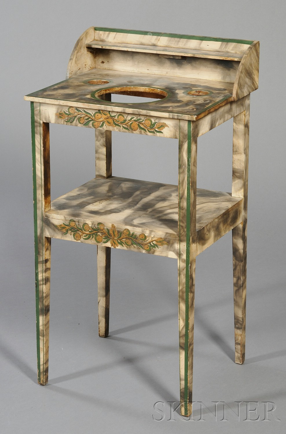 Federal Polychrome Gilt and Smoke-decorated Chamberstand